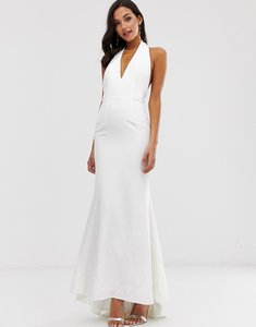 Read more about Jarlo extreme plunge front maxi dress with drop back in white