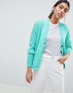 Read more about Asos ultimate chunky knit cardigan with button - mint