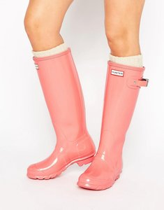 Read more about Hunter original tall gloss pink wellington boots - pink