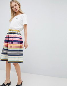Read more about Yumi nordic stripe print skater skirt with belt - multi