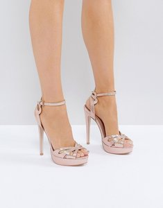 Read more about Miss kg fabienne jewelled butterfly platform heeled sandals - rose gold