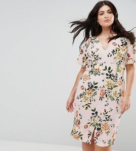 Read more about Closet london plus floral print dress with frill sleeve - pink