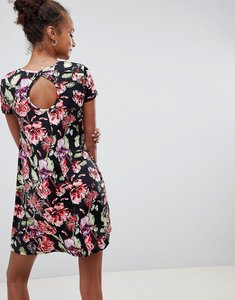 Read more about Brave soul swing dress with keyhole back in dark floral print - black floral