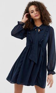 Read more about Brave soul ruffle skater dress with pussybow neck tie in navy
