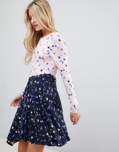 Read more about Asos design mixed print tea dress with v back - floral print