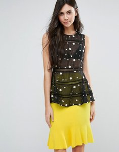 Read more about Endless rose polka dot sleeveless peplum top with mesh detail - black