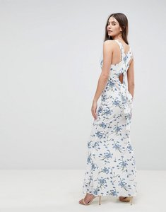 Read more about Ax paris maxi dress with tie back in floral - white