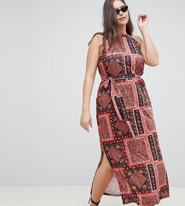 Read more about Asos design curve scarf print maxi sundress with belt - multi