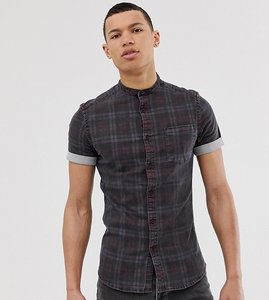 Read more about Asos design tall skinny denim check shirt in grey with grandad collar - grey
