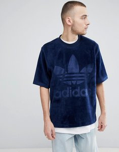 Read more about Adidas originals adicolor velour t-shirt in oversized fit in navy cw1326 - navy