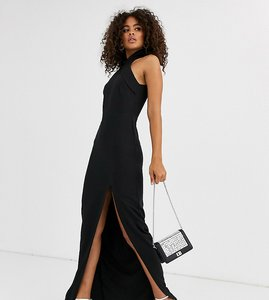 Read more about Vesper tall high neck maxi dress with thigh split in black