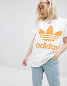 Read more about Adidas originals orange trefoil logo t-shirt in white - white
