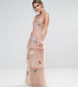 Read more about Hope ivy tiered maxi dress with floral embroidery - pink