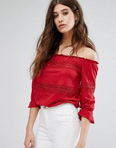 Read more about Miss selfridge crochet bardot top - red