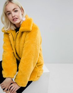 Read more about Monki faux fur oversized jacket - yellow