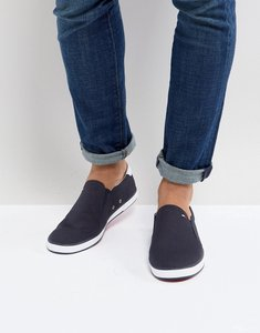 Read more about Tommy hilfiger iconic slip on canvas plimsolls in navy - midnight