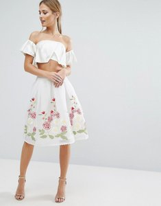 Read more about Endless rose midi skirt with embroidered hem - off white