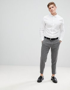 Read more about Asos design slim shirt in herringbone with double cuff cutaway collar in white - white