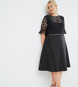 Read more about Asos curve premium lace insert midi dress - black