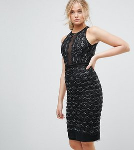 Read more about Tfnc tall high neck mini scallop sequin dress - black