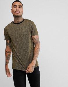 Read more about Asos longline t-shirt in gold metallic herringbone - gold