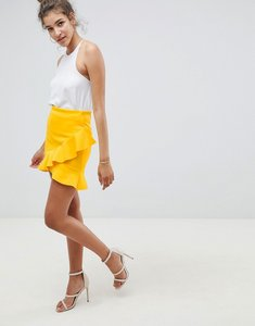 Read more about Asos design mini skirt with frill hem in scuba - lemon