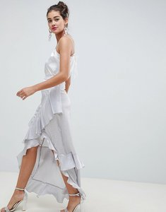 Read more about Asos design mixed spot jacquard maxi skirt with lace inserts - pale blue