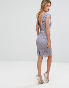 Read more about Paper dolls midi lace dress with scalloped back - oyster grey