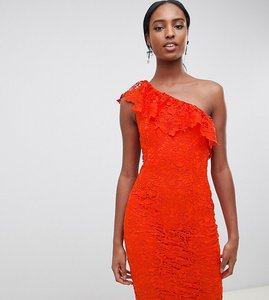 Read more about Paper dolls tall one shoulder crochet lace dress - tomato red