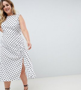 Read more about Asos design curve sleeveless maxi dress in polka dot - multi