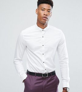 Read more about Asos tall slim sateen shirt with wing collar and contrast buttons - white