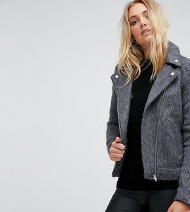 Read more about Noisy may tall knitted biker jacket - medium grey
