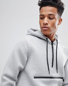 Read more about Only sons scuba hoodie with half zip detail - light grey marl