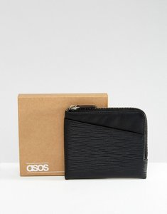 Read more about Asos leather zip around wallet in black with cardholder front embossed - black
