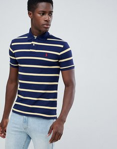 Read more about Polo ralph lauren slim fit stripe pique polo player logo in navy yellow - newport navy yellow