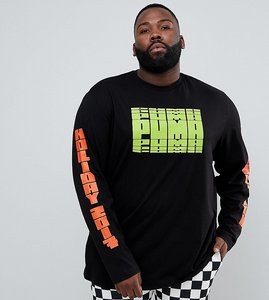 Read more about Puma plus graphic long sleeve t-shirt with arm print in black exclusive to asos - black