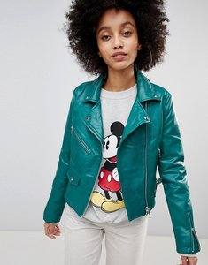 Read more about Bershka leather look biker jacket - green