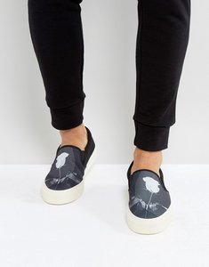 Read more about Asos slip on plimsolls in canvas with rose print - black