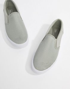 Read more about Asos design slip on plimsolls in grey mesh - grey
