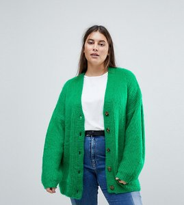 Read more about Asos curve knitted cardigan in brushed yarn - green