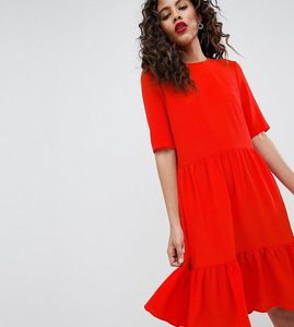 Read more about Y a s tall sadur tiered shift dress - red