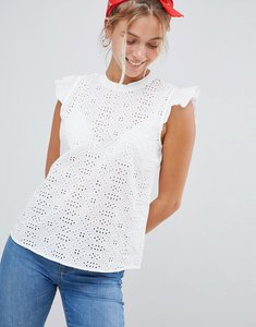 Read more about Jdy lace frill shoulder blouse - white