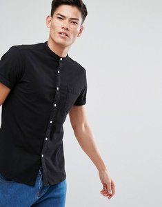 Read more about Asos casual stretch slim shirt with grandad collar in black - black