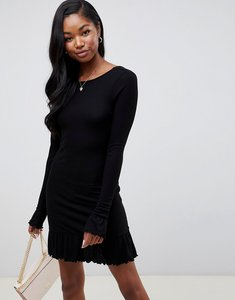 Read more about Asos design scoop back mini dress with frill hem - black