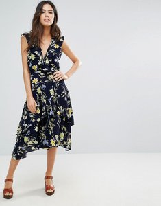 Read more about Louche swoosie ruffle wrap front midi dress - navy yellow