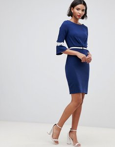 Read more about Paper dolls sleeve lace detail pleat dress with belt