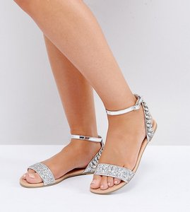 Read more about Asos farina wide fit embellished flat sandals - glitter