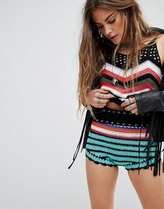 Read more about En creme high waist shorts in crochet chevron co-ord - black multi