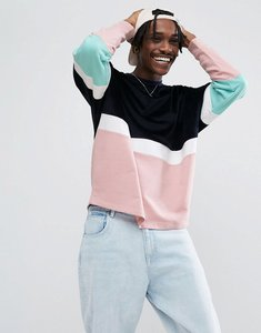Read more about Asos oversized sweatshirt with velour colour blocking - navy pink