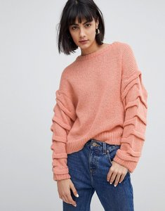 Read more about Selected knitted jumper with sleeve detail - pink